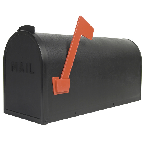 a black mailbox on a white background