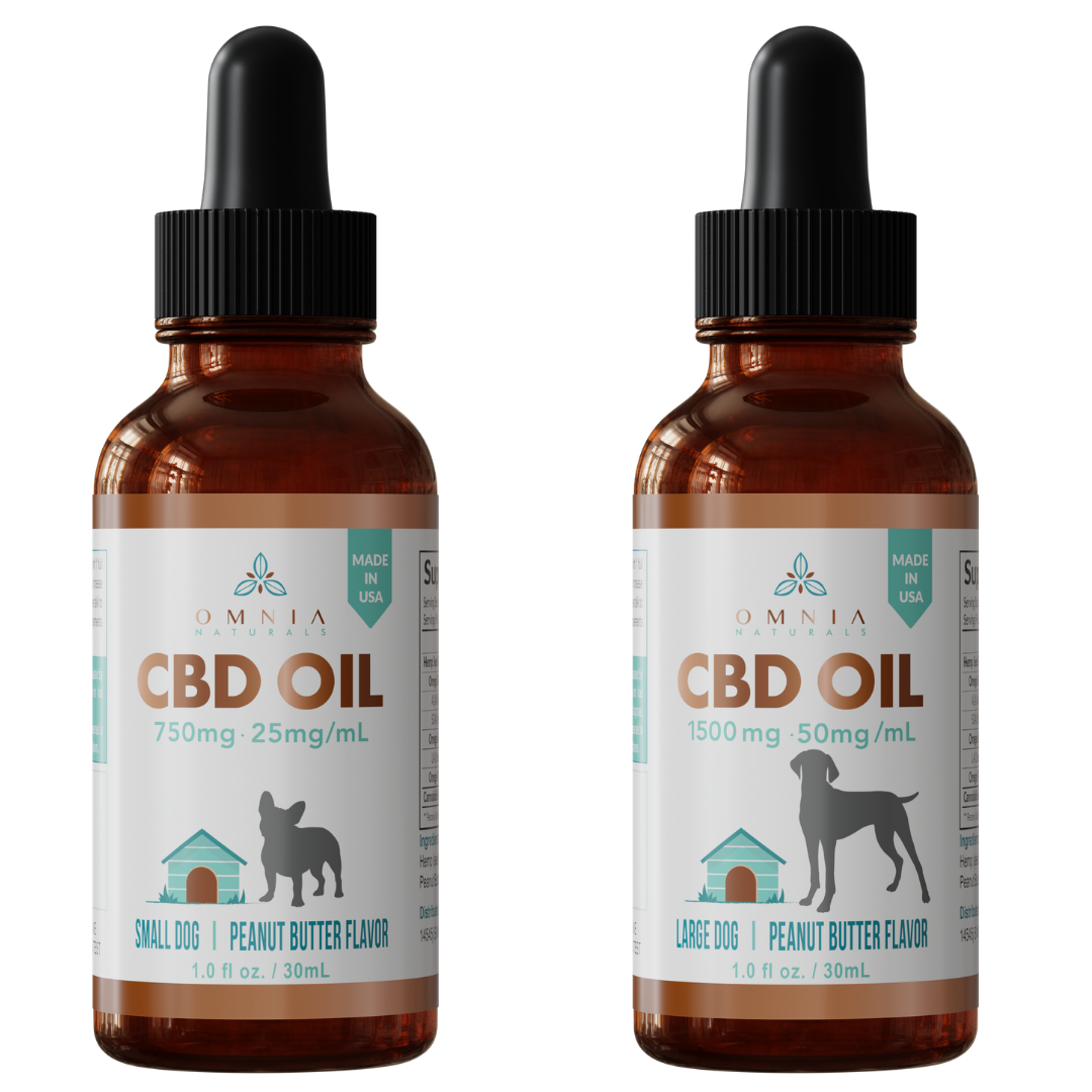 two tinctures of CBD oil for dogs. One with a large breed and one with a small breed on the label