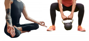 a man seated meditating next to a woman squatting with a kettle bell