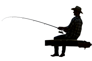 a silhouette of a man sitting on a dock holding a fishing pole